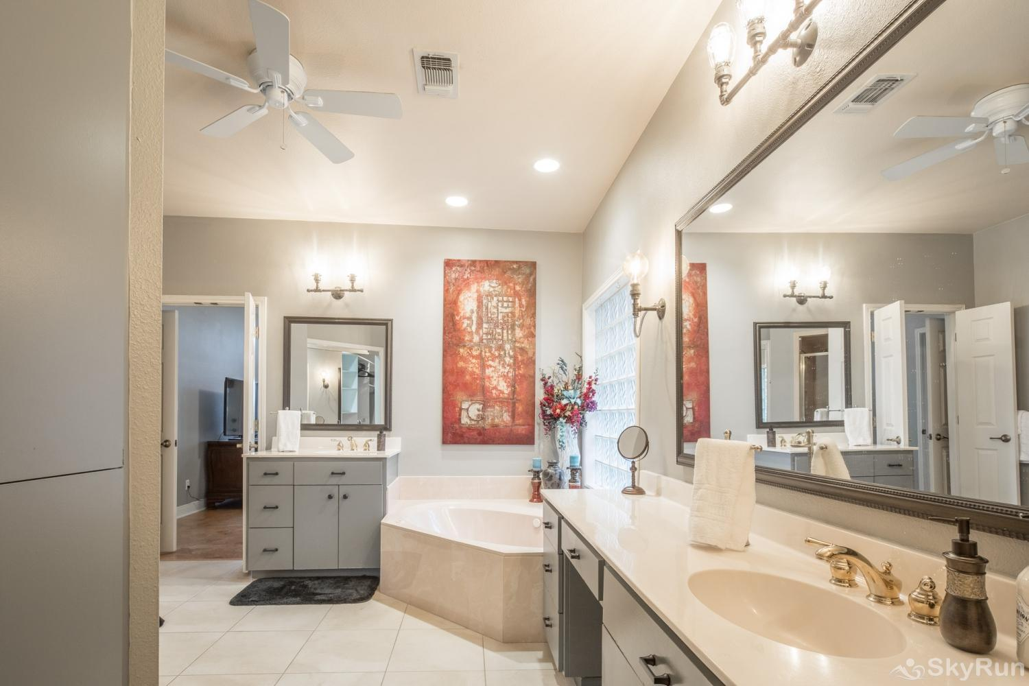 GRUENE VISTA ON THE GUADALUPE Dual Vanities in Master Bathroom