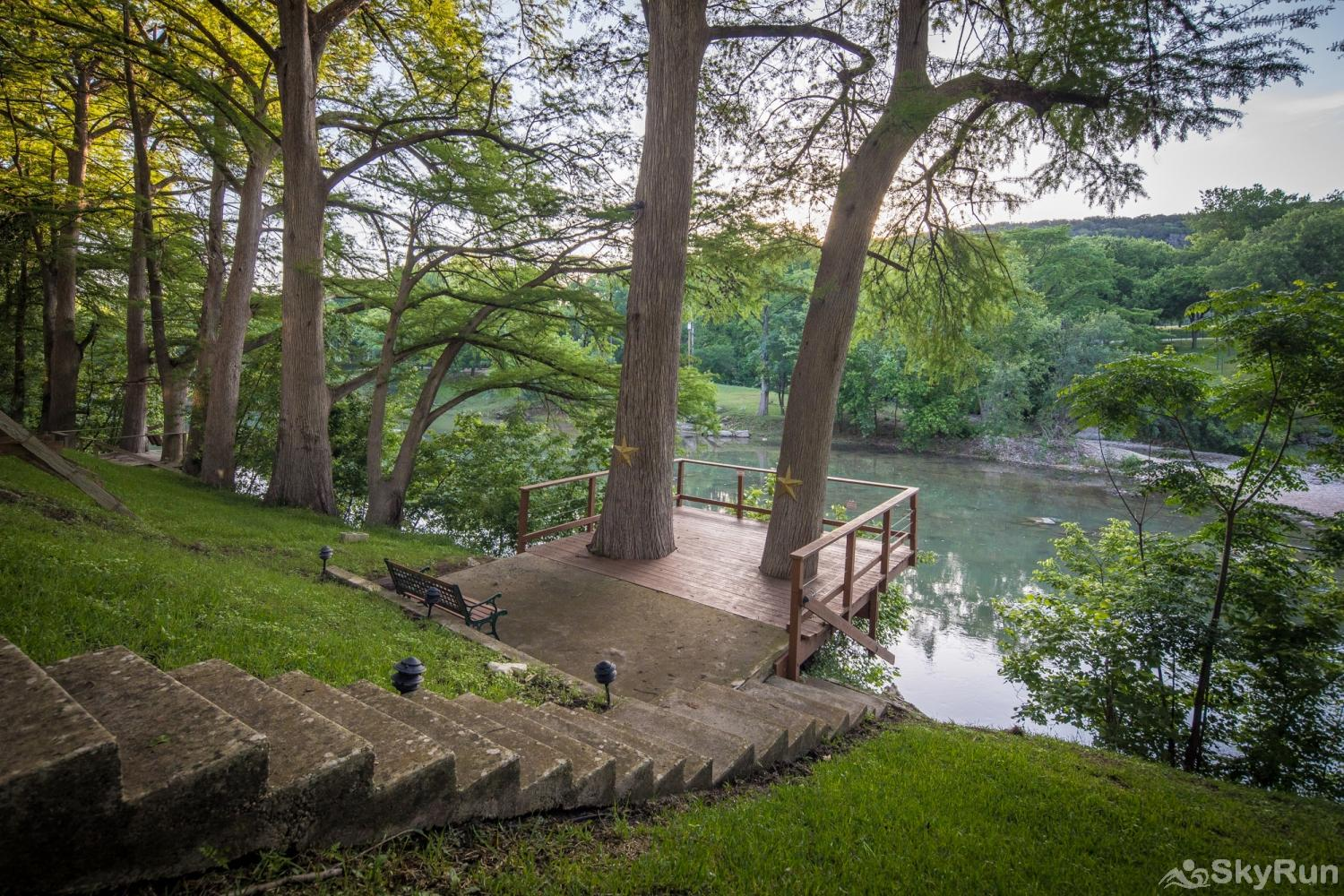 STAR OF TEXAS AND COTTAGE COMBO Deck Space provides easy access to the river