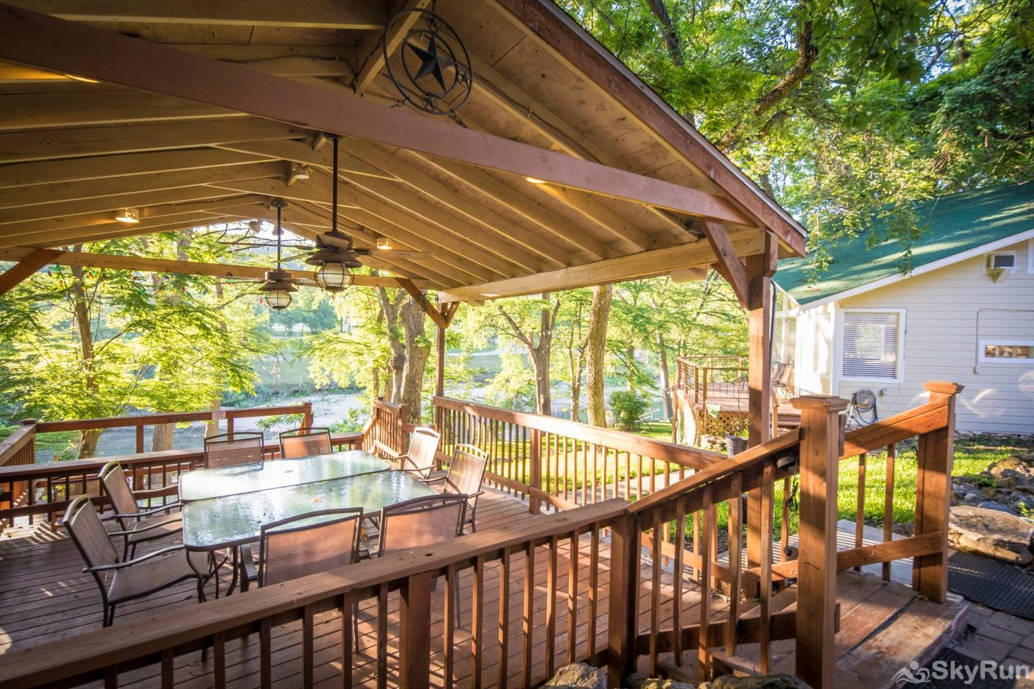 STAR OF TEXAS AND COTTAGE COMBO Shaded Gazebo Overlooking the River Below